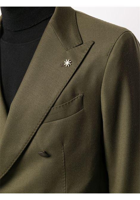olive green virgin wool blend double breasted peak lapel blazer  Manuel Ritz      2932G2738Y-20050139