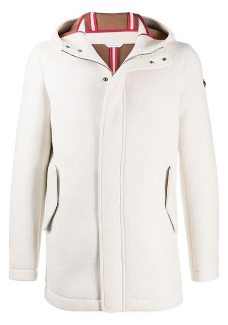 White virgin wool-blend hooded single-breasted coat  Manuel Ritz      2932H8317-20373702
