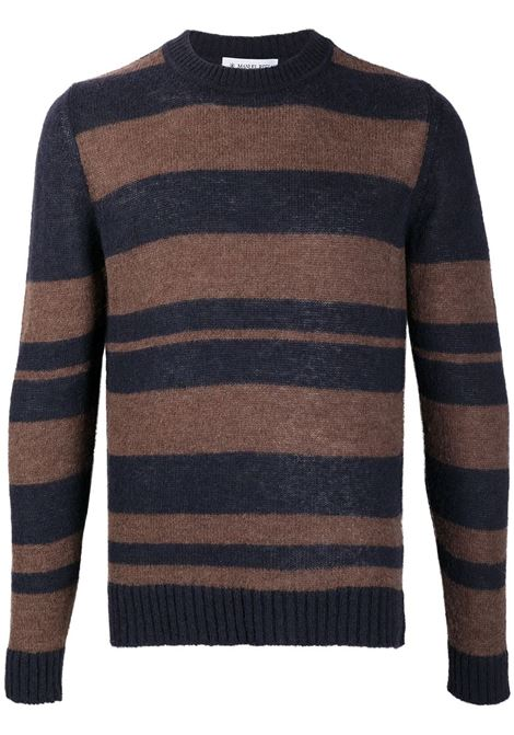 Blue and brown mohair-wool blend striped crew-neck jumper  Manuel Ritz |  | 2932M518-20383389