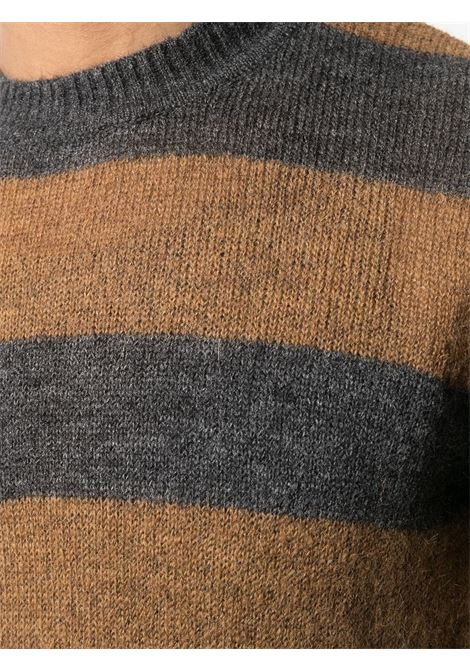 Grey and brown wool-mohair blend striped crew-neck jumper  Manuel Ritz |  | 2932M518-20383398