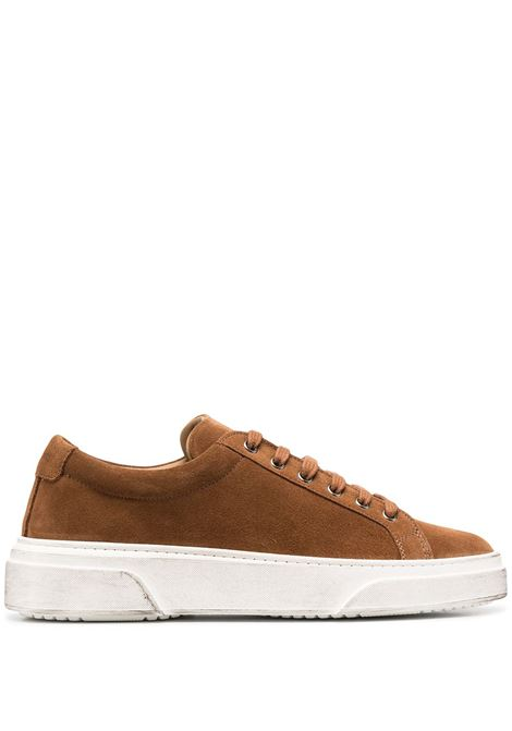 Brown leather, suede and white rubber low-top sneakers  MANUEL RITZ |  | 2932Q513-20388526