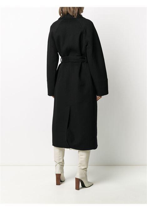 Cappotto midi in lana nera con cintura in vita P.A.R.O.S.H. | Cappotti | D430765-LEAK013