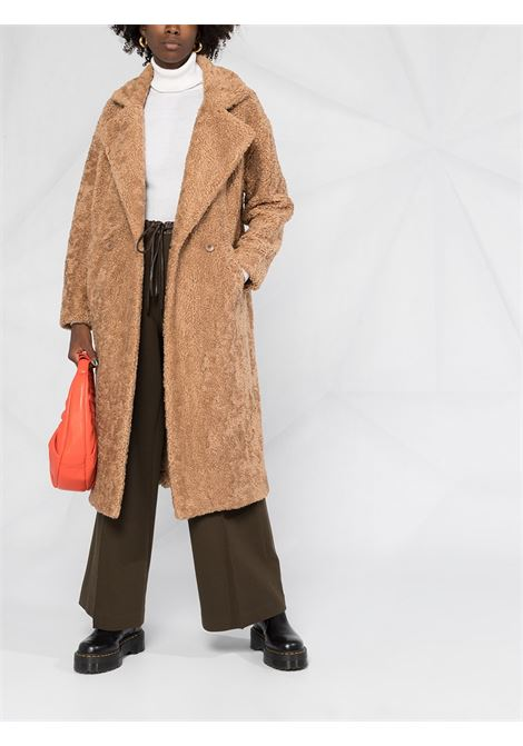 brown faux shearling double-breasted coat  P.A.R.O.S.H. |  | D430827-POSTIT006