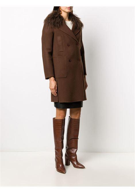 Cappotto doppiopetto Leak in lana e pelliccia di capra marrone P.A.R.O.S.H. | Cappotti | D430834P-LEAK008