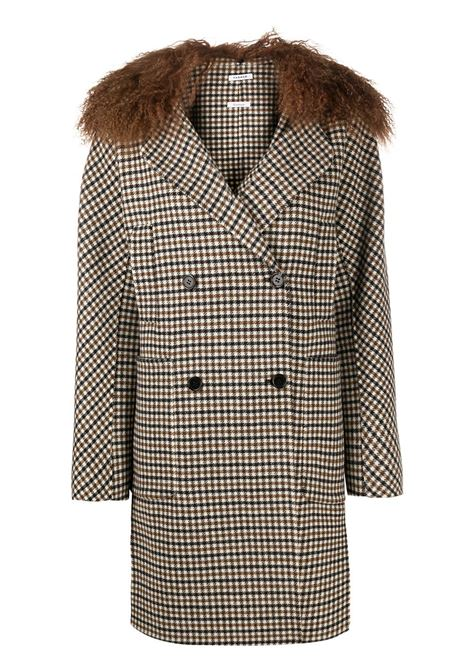 Black multicoloured goat fur and wool-blend Liar houndstooth check coat  P.A.R.O.S.H. |  | D430834P-LIAR806