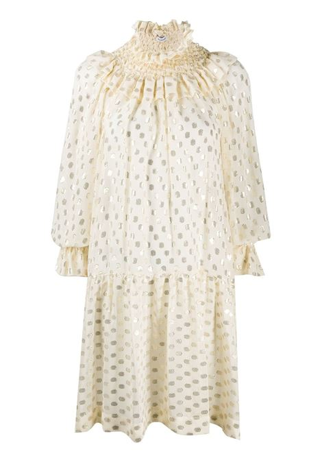 Cream silk-blend polka dot shirt dress featuring polka dot embroidery P.A.R.O.S.H. |  | D724005-SCINTILLA002