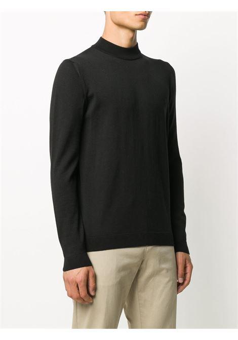 Maglia girocollo in lana merino nera a coste ROBERTO COLLINA | Maglieria | RD0100609