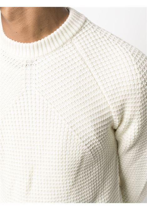 Maglia in lana merino ecrù con lavorazione a nido d'ape ROBERTO COLLINA | Maglieria | RD0250102