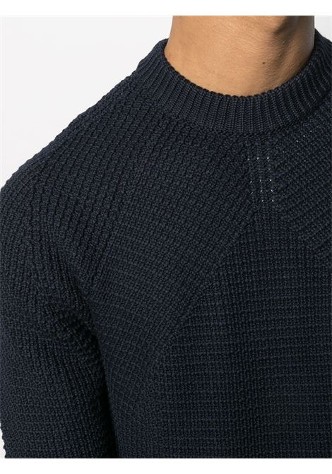 Maglia in lana merino blu navy con lavorazione a nido d'ape ROBERTO COLLINA | Maglieria | RD0250110