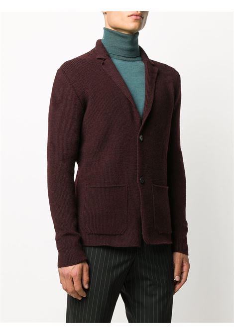 Cardigan rosso bordeaux in lana lavorata a coste ROBERTO COLLINA | Giacche | RD0901136