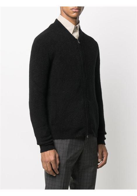 Cardigan in lana di alpaca nera con zip ROBERTO COLLINA | Cardigan | RD1400809