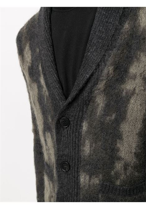Cardigan in lana mohair grigio e kaki effetto sbiancato ROBERTO COLLINA | Cardigan | RD1601208