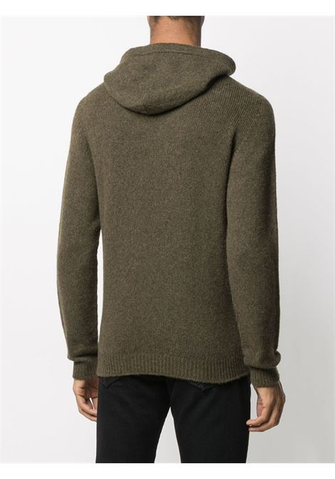 Olive green wool hoodie featuring ribbed knit ROBERTO COLLINA |  | RD1800724