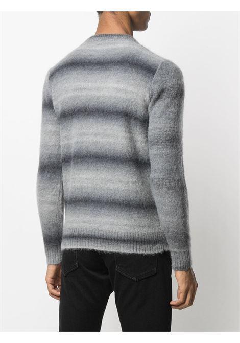 Maglia nera e grigia in lana mohair-alpaca con stampa a fantasia astratta, girocollo e maniche lunghe. ROBERTO COLLINA | Maglieria | RD2300121