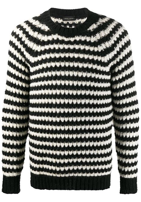 Maglione a righe dalla vestibilità comoda in lana nera e bianca ROBERTO COLLINA | Maglieria | RD4600109