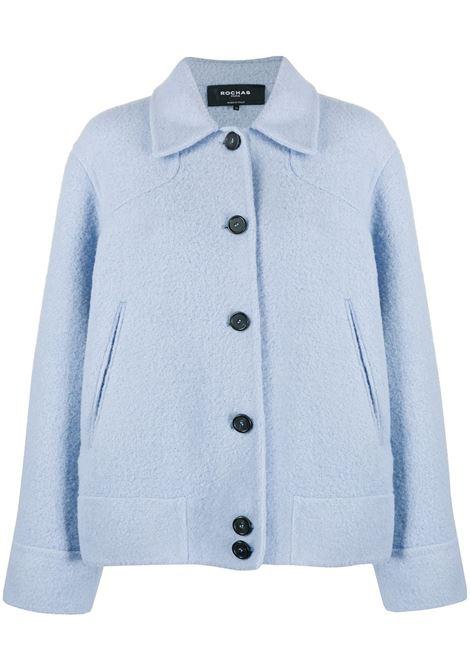 Giacca corta in lana alpaca azzurra con colletto ROCHAS | Giacche | ROPR1501D-RR004459
