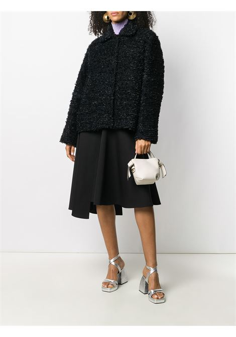 Short jacket in black sherpa wool with ribbons texture ROCHAS |  | ROPR1504A-RR018B001
