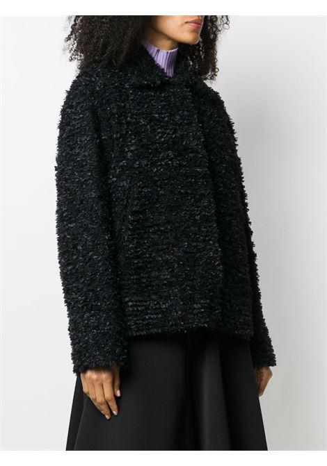 Giacca corta in lana sherpa nera con lavorazione a nastrini ROCHAS | Giacche | ROPR1504A-RR018B001