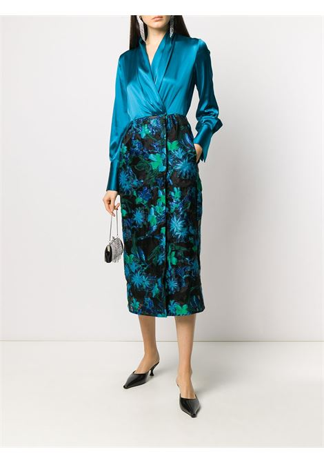 Black and turquoise silk-blend jacquard pattern wrap dress SARA ROKA |  | SHARI85 42-F2003B