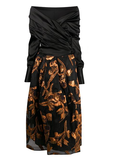Black and brown silk-blend Zaki off-shoulder dress  SARA ROKA |  | ZAKI85 42-F2003A