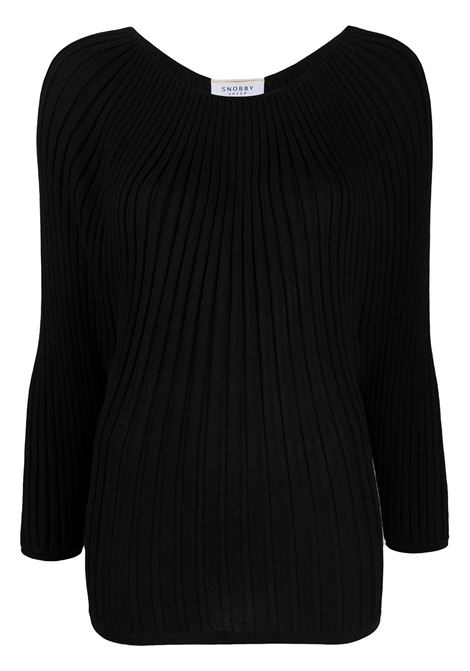 black silk-cashmere blend wide-ribbed round neck sweater SNOBBY SHEEP |  | 20X.80290999