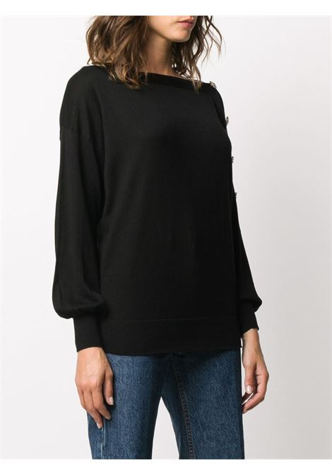 Black silk-cashmere-blend jumper featuring boat neck, diamond crystal-embellished buttons SNOBBY SHEEP |  | 20X.80355999