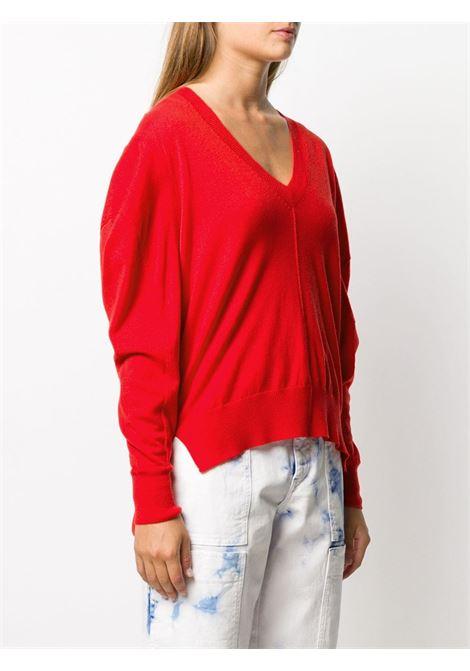 Red virgin wool draped jumper featuring V-neck STELLA MC CARTNEY |  | 601767-S22076505