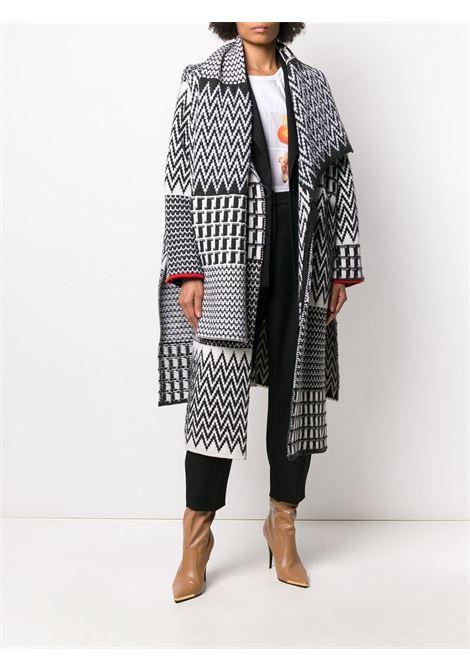 Black and white cotton oversized shawl cardi-coat featuring patterned intarsia knit STELLA MC CARTNEY |  | 601825-S22139250