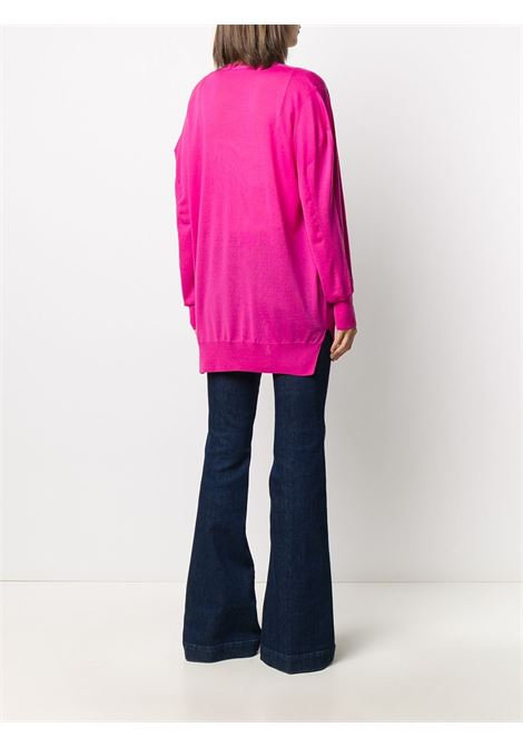 Cardigan ampio fucsia in lana vergine con scollo a V STELLA MC CARTNEY | Cardigan | 602030-S17355624