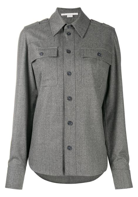 Melange grey wool-blend Hill shirt  featuring classic collar STELLA MC CARTNEY |  | 602108-SNB531262