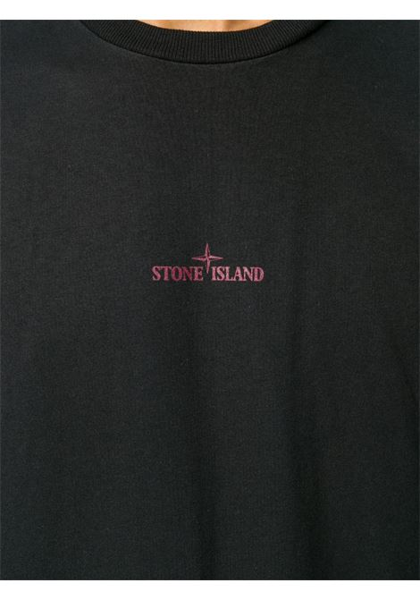 T-shirt in cotne nero con logo Stone Island rosso STONE ISLAND | T-shirt | 73152NS81V0029