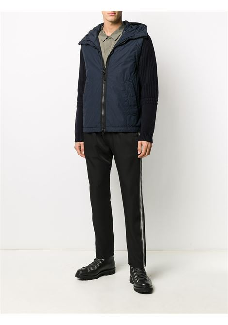 Navy blue and black hooded padded jacket featuring colour-block panelled design STONE ISLAND |  | 731543732V0020