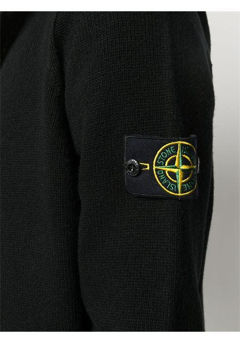 cardigan con cappuccio in misto lana nera STONE ISLAND | Cardigan | 7315506A3V0029