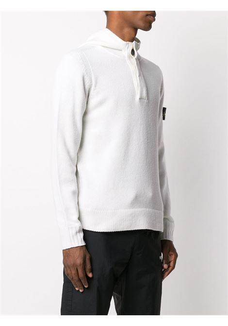 Maglione bianco in misto lana con colletto a polo STONE ISLAND | Maglieria | 7315507A3V0099