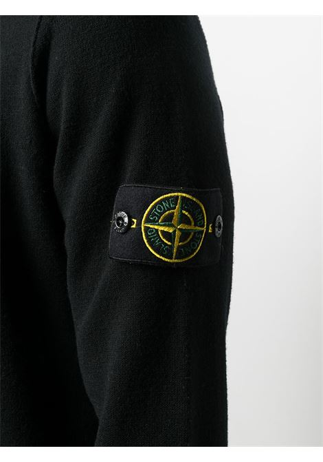 Cardigan nero in misto lana con zip STONE ISLAND | Cardigan | 7315513A1V0029