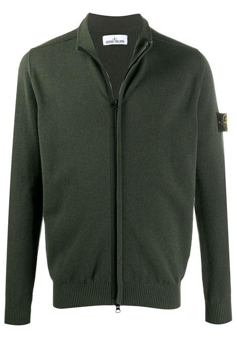 Maglione lana verde con girocollo con chiusura zip frontale STONE ISLAND | Cardigan | 7315513A1V0059