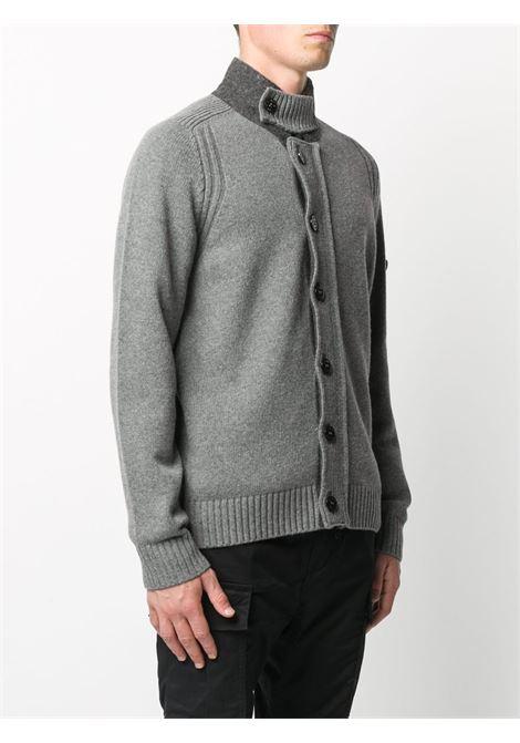 cardigan in misto lana grigio con collo alto STONE ISLAND | Cardigan | 7315564A3V0060
