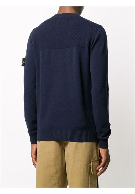 Navy wool-blend fine knit pullover jumper featuring Stone Island logo patch at the sleeve STONE ISLAND |  | 7315591A1V0028