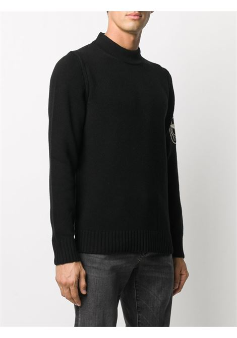 Black wool blend jumper featuring Stone Island embroidered compass logo patch at the sleeve, STONE ISLAND |  | 7315592C7V0029