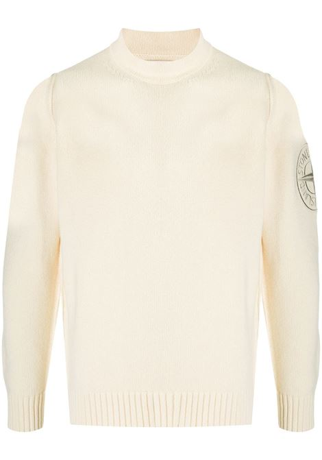 white wool blend jumper featuring Stone Island embroidered compass logo patch at the sleeve, STONE ISLAND |  | 7315592C7V0035