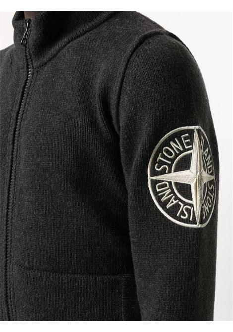 Grey wool embroidered logo zipped sweater  STONE ISLAND |  | 7315593C7V0M67