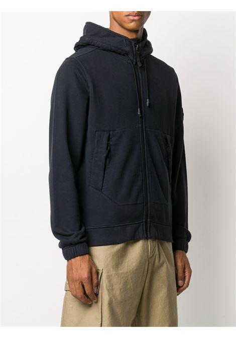 Blue cotton zipped drawstring hooded jacket   STONE ISLAND      731561420V0020