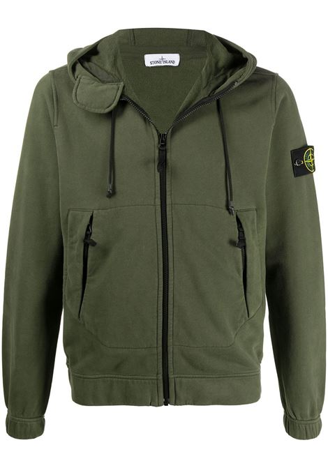 Green cotton zipped jacket featuring drawstring hood STONE ISLAND |  | 731561420V0059
