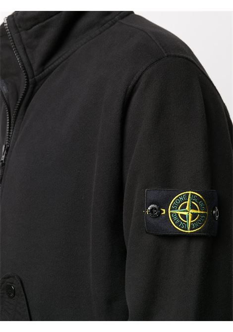 Black cotton zip fleece sweatshirt  featuring long sleeves STONE ISLAND      731561520V0029