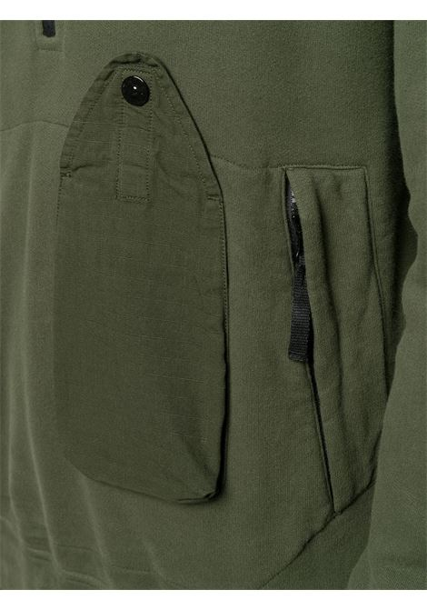 Khaki green cotton zipped-up jumper  featuring stand-up collar STONE ISLAND      731561520V0059