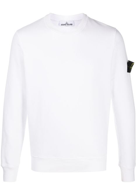 White cotton sweatshirt featuring Stone Island logo patch to the side STONE ISLAND |  | 731563020V0001