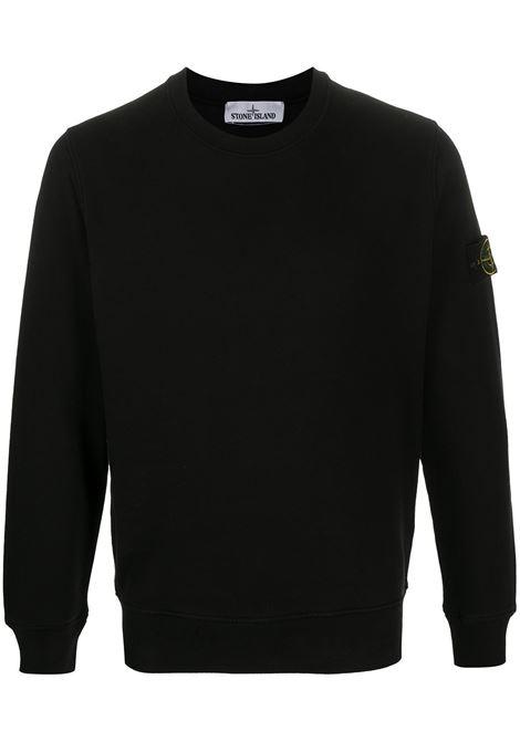 Felpa in cotone nero con scollo tondo STONE ISLAND | Felpe | 731563020V0029