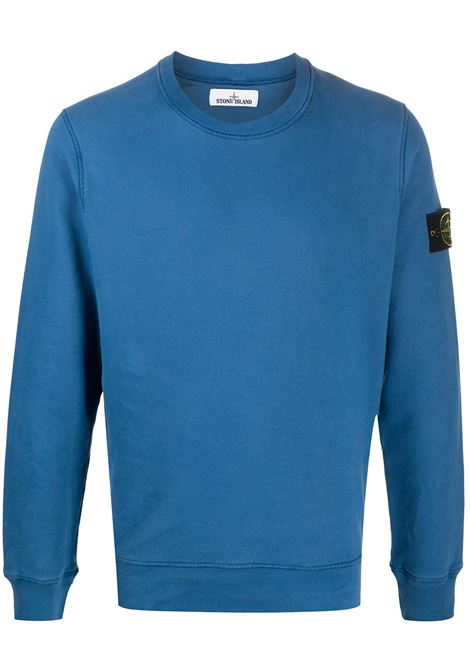 Blue cotton sweatshirt featuring Stone Island logo patch to the side STONE ISLAND |  | 731563020V0043