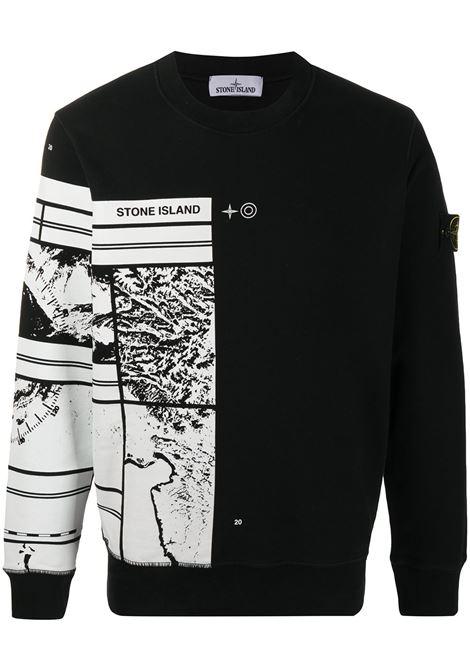 Black and white cotton Mural Part 3 cotton sweatshirt STONE ISLAND      731563088V0029