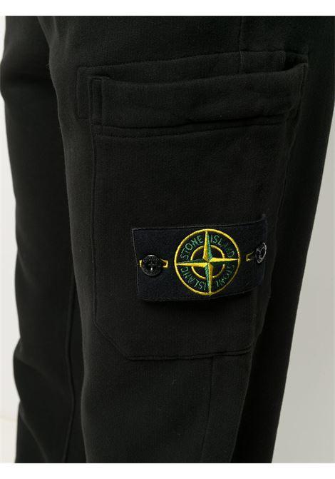 Pantaloni sportivi cargo in felpa di cotone nero con jersey felpato STONE ISLAND | Pantaloni | 731564520V0029